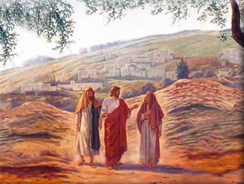 Jesús y los discípulos en el camino de Emaús