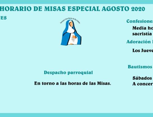 Horario especial Misas Agosto 2020